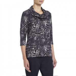Tigi Animal Print Cowl Neck Top