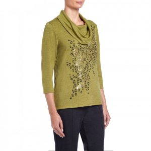 Tigi Womens Foil Printed Cowl Neck