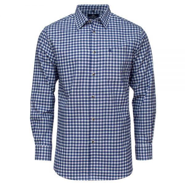 Carson Mens Twill Cotton Two Tone Check Long Sleeve Shirt