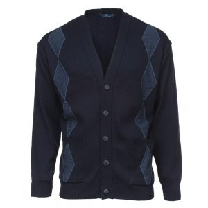 Carson Mens Diamond Pattern V Neck Jacquard Cardigan