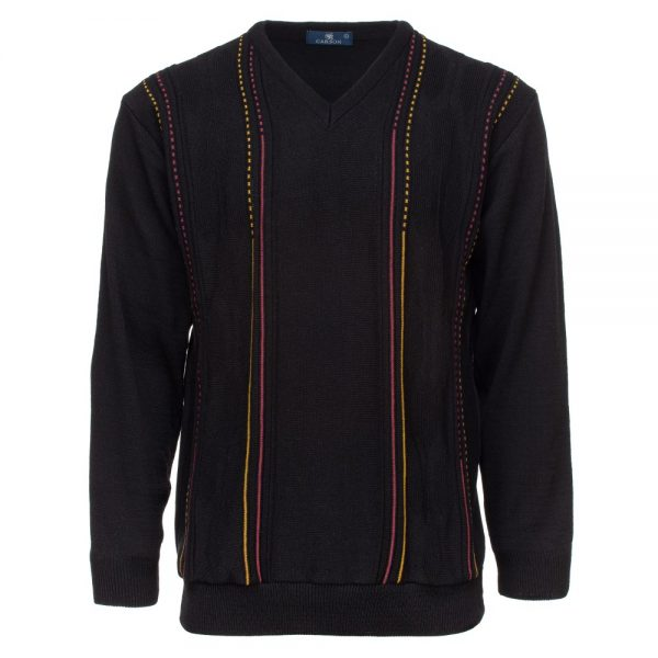 Carson Mens Rhombus Design Panel V Neck Sweater