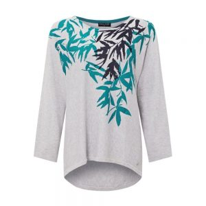 VIZ-A-VIZ Knitted Leaf Print Top
