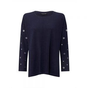 VIZ-A-VIZ Eyelet Long-sleeve Top